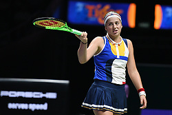 SINGAPORE, Oct. 26, 2017  Jelena Ostapenko of Latvia reacts during the match against Karolina Pliskova of the Czech Republic at the WTA Finals tennis tournament in Singapore, on Oct. 26, 2017. (Credit Image: © Then Chih Wey/Xinhua via ZUMA Wire)