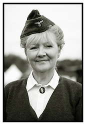 A reenactor from the Northern World War Two Association Portrays a German Nachrichtenhelferin Des Heer. In English a Signals Helper of the Army. These were women who worked with the German Army in World war two in much the same way the British Auxiliary Territorial Service (ATS) did with the British Army of WW2<br /> <br />   24 September 2017 <br />   Copyright Paul David Drabble<br />   www.pauldaviddrabble.co.uk