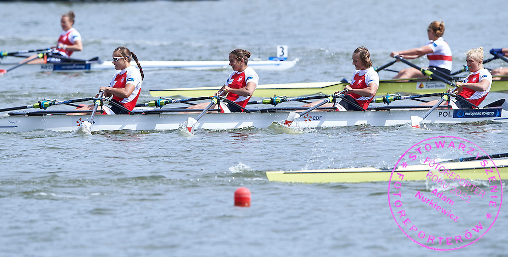 Bronze medalist (bow) Agnieszka Kobus and Joanna Leszczynska /and Maria Springwald and (stroke) Monika Ciaciuch compete at Women&rsquo;s Quadruple Sculls (W4x) Final A during third day the 2015 European Rowing Championships on Malta Lake on May 31, 2015 in Poznan, Poland<br /> Poland, Poznan, May 31, 2015<br /> <br /> Picture also available in RAW (NEF) or TIFF format on special request.<br /> <br /> For editorial use only. Any commercial or promotional use requires permission.<br /> <br /> Mandatory credit:<br /> Photo by &copy; Adam Nurkiewicz / Mediasport