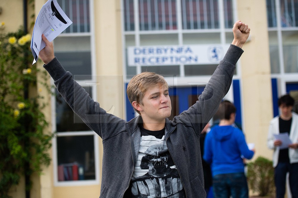 © Licensed to London News Pictures. 25/08/2016. Aberystwyth, Wales, UK. HARRY EDMUNDS, a teenage student at Penglais school Aberystwyth Wales UK celebrating after collecting his GCSE results. Overall in Wales the GCSE A* to C pass rate has remained static  at 66.6%  for the third consecutive  year.  Photo credit: Keith Morris/LNP