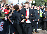Manchester United Defender Luke Shaw arrives off the coach during the Premier League match between Fulham and Manchester United at Craven Cottage, London, England on 9 February 2019.