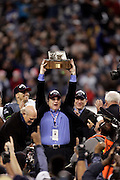 Seahawks owner Paul Allen holds up the George S. Halas NFC Championship Trophy after the seahwaks won the NFC Championship Game in Seattle. Carolina Panthers at Seattle Seahawks during the NFC Championship game at Qwest Field in Seattle. Washington on January 22, 2006.