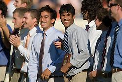The Virginia Men's Tennis Team, including national champion Somdev Deeveraman were honored during the UVA v UCONN game at Scott Stadium in Charlottesville, VA on October 13, 2007.