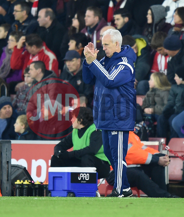 Ipswich Town Manager, Mick McCarthy encourages his players from the side line at St Mary's Stadium  - Photo mandatory by-line: Paul Knight/JMP - Mobile: 07966 386802 - 04/01/2015 - SPORT - Football - Southampton - St Mary's Stadium - Southampton v Ipswich Town - FA Cup Third Round