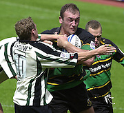 19/05/2002.Sport -Rugby Union- Zurich Championship Quarter final.London Irish v Northampton.Saints, Olivier Brouzet, runs at the exiles defence..[Mandatory Credit, Peter Spurier/ Intersport Images].