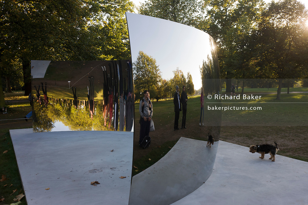 Artist Anish Kapoor's artwork called the C-Curve, part of his Turning the World Upside Down show at the Serpentine Gallery...