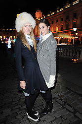 Left to right, SABRINA PERCY and AMBER LE BON at a Winter Party given by Tiffany & Co. Europe to launch the 10th season of Somerset House's Ice Skating Rink at Somerset House, The  Strand, London on 16th November 2009.