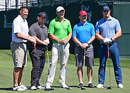 From left to right, Houston Texans Mike Vrabel. Jon Weeks, John Butler and Brian Cushing pose with professional golfer Greg Own (middle) on the first tee box at the Golf Club of Houston on Monday, March 28, 2016 in Humble, TX. (Photo: Thomas B. Shea/For the Chronicle)
