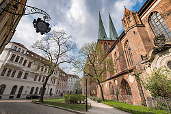 View of Nikolaikirche, Nikolai Church, in historic Nikolaiviertel district in Mitte Berlin Germany
