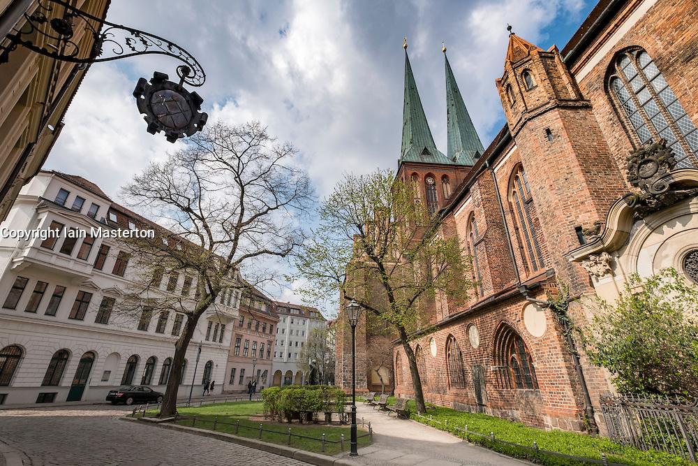 View of Nikolaikirche, Nikolai Church, in historic Nikolaiviertel district in Mitte Berlin Germany