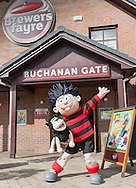 Dennis and Gnasher ready to welcome guests at the Buchanan Gate Brewers Fayre.