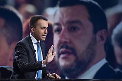 Italy, Rome - May 5, 2019.The Italian deputy prime minister and labour minister Luigi di Maio guest at 'Mezz'ora in più' TV talk show..Matteo Salvini on the screen (Credit Image: © Mistrulli/Fotogramma/Ropi via ZUMA Press)