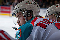 KELOWNA, CANADA - JANUARY 4: Mitchell Wheaton #6 of the Kelowna Rockets stands on the bench against the Vancouver Giants on January 4, 2014 at Prospera Place in Kelowna, British Columbia, Canada.   (Photo by Marissa Baecker/Shoot the Breeze)  ***  Local Caption  ***