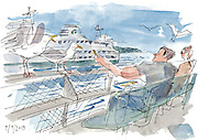 Visitors to Ivar's on Pier 54 enjoy a meal while sharing their french fries with the local seagulls. <br />