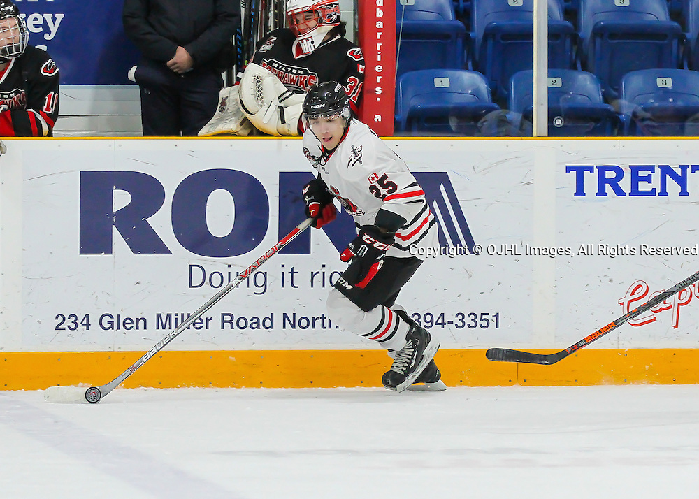 TRENTON, ON - JAN 24,  2017: Ontario Junior Hockey League game between Milton and Mississauga at the 2017 Winter Showcase, Mathew Ceolin #25 of the Mississauga Chargers skates with the puck during the second period.<br /> (Photo by Ray MacAloney / OJHL Images)