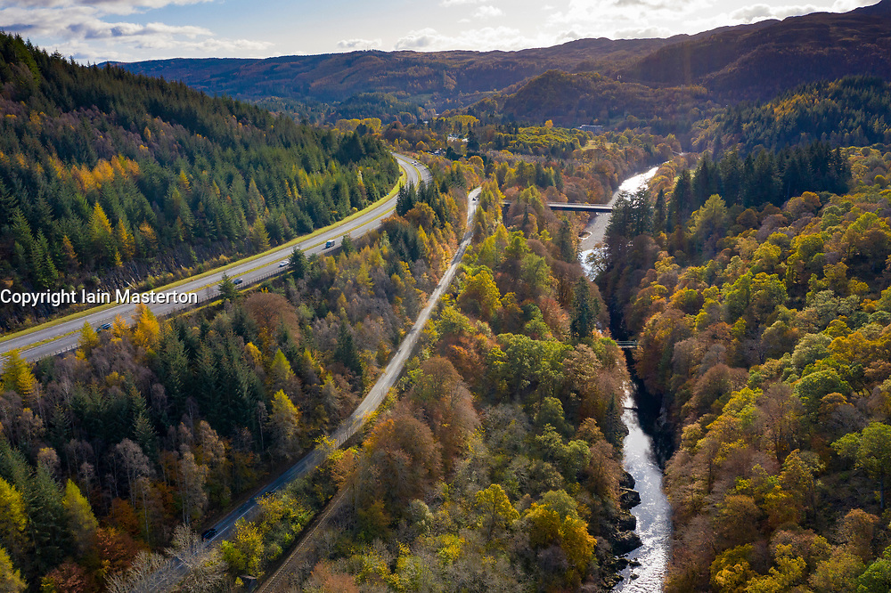 Transport corridor through the Pass of Killiecrankie in Perthshire, Scotland, UK. River Garry to right, mainline railway, B8079 and A9 to left.