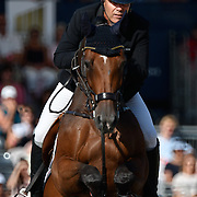 04.08.2018 The Longines Global Champions Tour Show jumping at The Royal Hospital Chelsea London UK Longines Global Champions Tour Grand Prix of London Won by Scott Brash GBR riding Hello Mr President