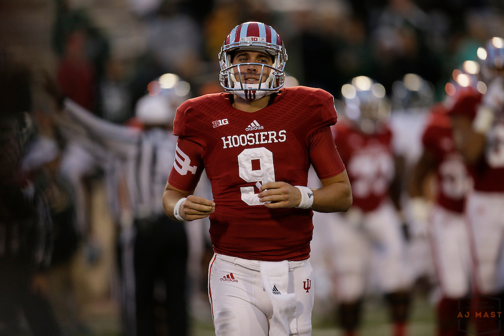 18 October 2014: Indiana Hoosiers quarterback Nate Boudreau (9) as the Indiana Hoosiers played the Michigan State Spartans in an NCAA college football game in Bloomington, Ind.