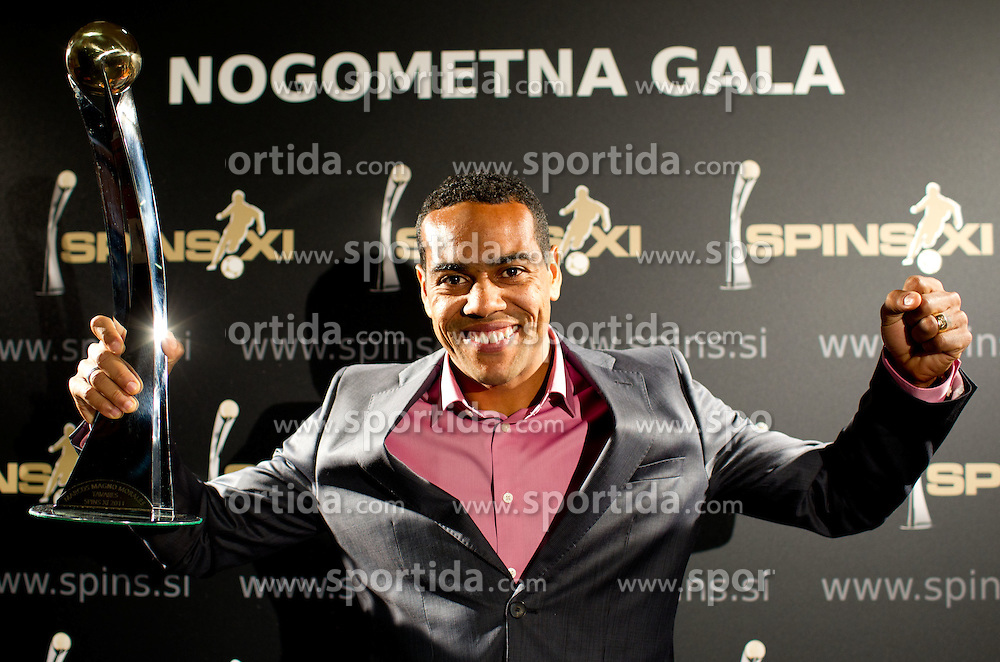 Best player in Slovenian First league PrvaLiga Marcos Morales Magno Tavares of NK Maribor during the Slovenian men's football player of the year 2011 award at the SPINS XI  Nogometna Gala, on November 24, 2011 in Hotel Mons, Ljubljana, Slovenia. (Photo By Vid Ponikvar / Sportida.com)