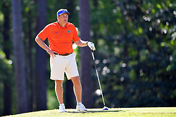 Dan Mullen looks on during the Chick-fil-A Peach Bowl Challenge at the Oconee Golf Course at Reynolds Plantation, Sunday, May 1, 2018, in Greensboro, Georgia. (Dale Zanine via Abell Images for Chick-fil-A Peach Bowl Challenge)