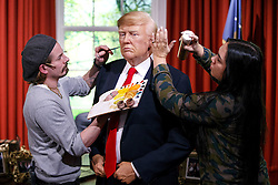 January 18, 2017 - London, London, UK - London, UK. A wax figure of the US President-elect Donald Trump is being prepared for unveiling at Madame Tussauds in London ahead of the US Presidential Inauguration on Wednesday, 18 January 2017. (Credit Image: © Tolga Akmen/London News Pictures via ZUMA Wire)