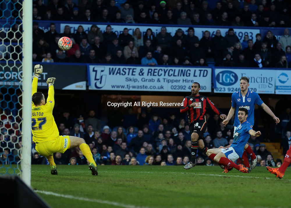 30.01.2016. Fratton Park, Portsmouth, England. Emirates FA Cup 4th Round. Portsmouth versus AFC Bournemouth.  Portsmouth Goalkeeper Ryan Fulton saves a shot from Bournemouth Forward Lewis Grabban