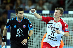 21.11.2015, Arena Zagreb, Zagreb, CRO, EHF CL, RK PPD Zagreb vs SG Flensburg Handewitt, Gruppe A, im Bild Lasse Svan Hansen. // during the EHF Champions League, group A match between RK PPD Zagreb and SG Flensburg Handewitt at the Arena Zagreb in Zagreb, Croatia on 2015/11/21. EXPA Pictures © 2015, PhotoCredit: EXPA/ Pixsell/ Goran Stanzl<br /> <br /> *****ATTENTION - for AUT, SLO, SUI, SWE, ITA, FRA only*****