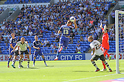 Anthony Pilkington goal is ruled out for handball  during the Sky Bet Championship match between Cardiff City and Fulham at the Cardiff City Stadium, Cardiff, Wales on 8 August 2015. Photo by Shane Healey.