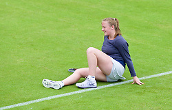 LIVERPOOL, ENGLAND - Wednesday, June 17, 2015: Lauren Dowling slips during the women's qualifying final during Kids Day of the Liverpool Hope University International Tennis Tournament at Liverpool Cricket Club. (Pic by David Rawcliffe/Propaganda)