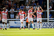 Doncaster Rovers forward John Marquis (9) celebrates after putting his team ahead during the EFL Sky Bet League 1 match between Peterborough United and Doncaster Rovers at London Road, Peterborough, England on 1 September 2018.