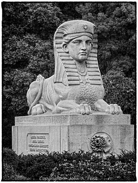 Outside Bigelow Chapel at Mount Auburn Cemetery in Watertown MA is this sphinx.  At first I viewed it almost as a parody on the Egyptian original.  <br />