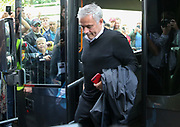 Manchester United Manager Jose Mourinho arrives off the coach during the Premier League match between Watford and Manchester United at Vicarage Road, Watford, England on 15 September 2018.