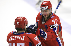Vitali Proshkin (45) of Russia and Alexander Radulov (47) of Russia celebrate at  ice-hockey game Canada vs Russia at finals of IIHF WC 2008 in Quebec City,  on May 18, 2008, in Colisee Pepsi, Quebec City, Quebec, Canada. Win of Russia 5:4 and Russians are now World Champions 2008. (Photo by Vid Ponikvar / Sportal Images)
