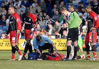 Photo: Leigh Quinnell.<br /> Luton Town v Southampton. Coca Cola Championship. 07/04/2007. Southamptons Gareth Bale is treated for a back injury.