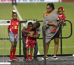 August 5, 2018 - Harrison, New Jersey, United States - Bradley Wright-Phillips family attend New York Red Bulls honored Bradley Wright-Phillips for scoring fastest 100 goals in MLS history after game against LAFC at Red Bull Arena Red Bulls won 2 - 1  (Credit Image: © Lev Radin/Pacific Press via ZUMA Wire)