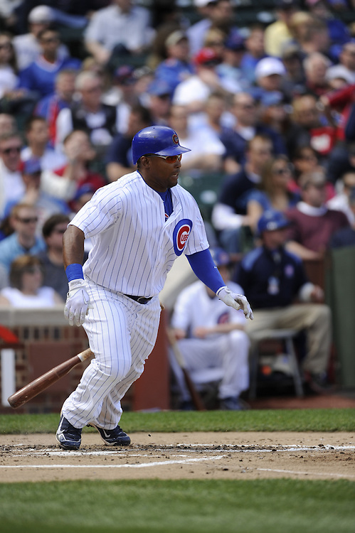 CHICAGO - APRIL 16:  Marlon Byrd #24 of the Chicago Cubs bats against the Houston Astros on April 16, 2010 at Wrigley Field in Chicago, Illinois.  The Cubs defeated the Astros 7-2.  (Photo by Ron Vesely)