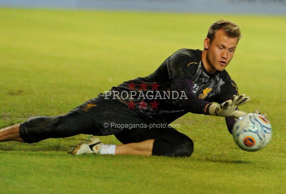 JAKARTA, INDONESIA - Friday, July 19, 2013: Liverpool's goalkeeper Simon Mignolet during a training session ahead of the club's preseason match against an Indonesian XI at the Gelora Bung Karno Stadium. (Pic by David Rawcliffe/Propaganda)