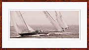 A sepia tone black and white photo of 12 Metre Class sailboat Northern Light rounding the windward mark during the annual Opera House Cup wooden boat regatta in Nantucket, Massachusetts.