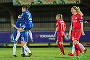 Chelsea Ladies celebrate Fran Kirby (14) goal during the UEFA Women's Champions League quarter final second leg match between Chelsea Ladies and Montpellier Feminines at the Kings Sports Ground, New Malden, United Kingdom on 28 March 2018. Picture by Robin Pope.