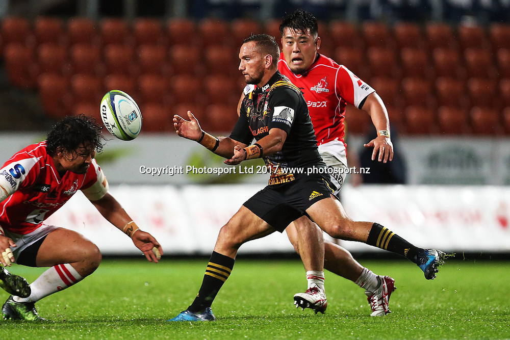 Chiefs first five Aaron Cruden in action during the Super Rugby rugby match - Chiefs v Sunwolves played at FMG Stadium Waikato, Hamilton, New Zealand on Saturday 29 April 2017.  Copyright photo: Bruce Lim / www.photosport.nz