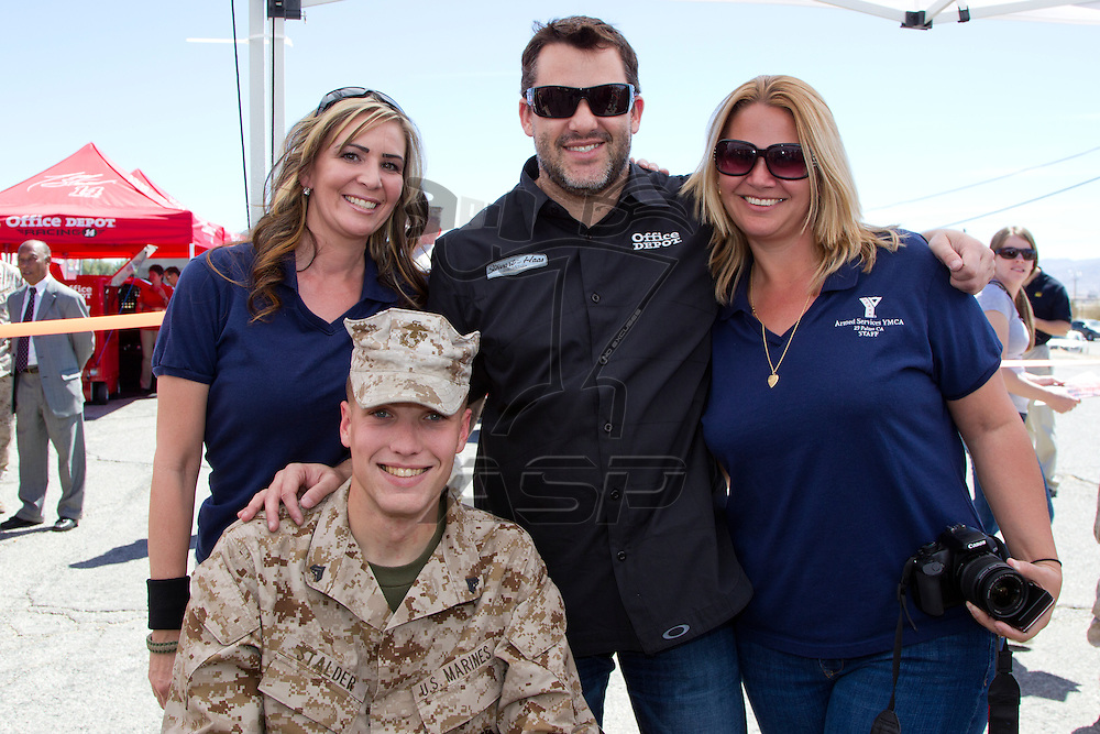 29 PALMS, CA - MAR 21, 2012:  Tony Stewart with the (14) Sprint Cup Series car takes time to sign autographs and meet with the military stationed at the Marine Corps Base 29 Palms in 29 Palms, CA.