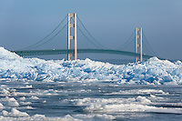Mountains of blue ice at the Straits of Mackinac