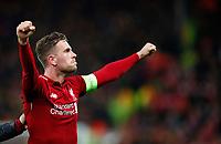 Football - 2018 / 2019 UEFA Champions League - Semi-Final, Second Leg: Liverpool (0) vs. Barcelona (3)<br /> <br /> Jordan Henderson of Liverpool celebrates winning the match at Anfield.<br /> <br /> COLORSPORT/LYNNE CAMERON
