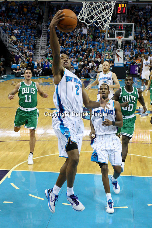 December 28, 2011; New Orleans, LA, USA; New Orleans Hornets point guard Jarrett Jack (2) shoots against the Boston Celtics during the first quarter of a game at the New Orleans Arena.   Mandatory Credit: Derick E. Hingle-US PRESSWIRE