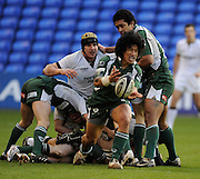 Twickenham, GREAT BRITAIN, Exiles, Elvis SEVEALI'I, passes the ball, during the Guinness Premiership match,  London Irish vs Newcastle Falcon at the Madjeski  Stadium, Reading. on Sat 03.01.2009. [Photo, Peter Spurrier/Intersport-images]