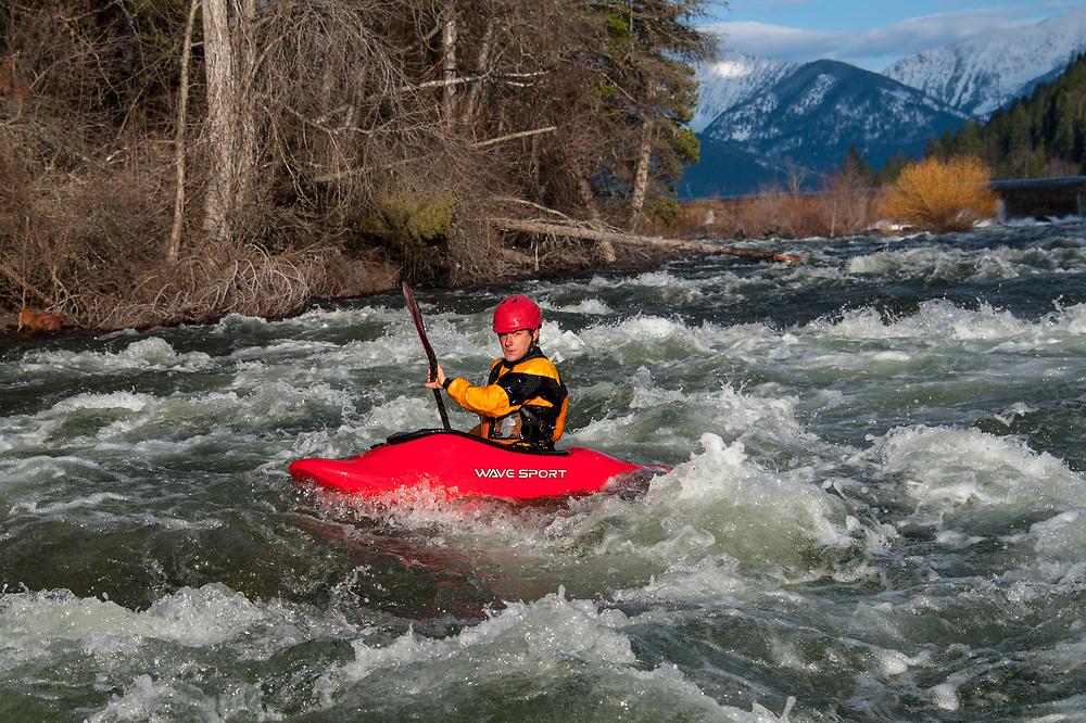 Whitewater kayaking on the Swan River Wild Mile in Bigfork Montana