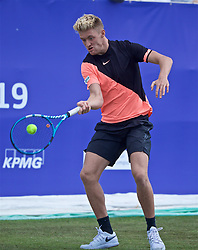 LIVERPOOL, ENGLAND - Thursday, June 20, 2019: Adam Jones (GBR) during the Liverpool International Tennis Tournament 2019 at the Liverpool Cricket Club. (Pic by David Rawcliffe/Propaganda)
