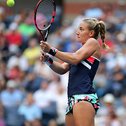 2017 U.S. Open Tennis Tournament - DAY THREE. Timea Babos of Hungary in action during her match against Maria Sharapova of Russia during the Women's Singles round two match at the US Open Tennis Tournament at the USTA Billie Jean King National Tennis Center on August 30, 2017 in Flushing, Queens, New York City.  (Photo by Tim Clayton/Corbis via Getty Images)