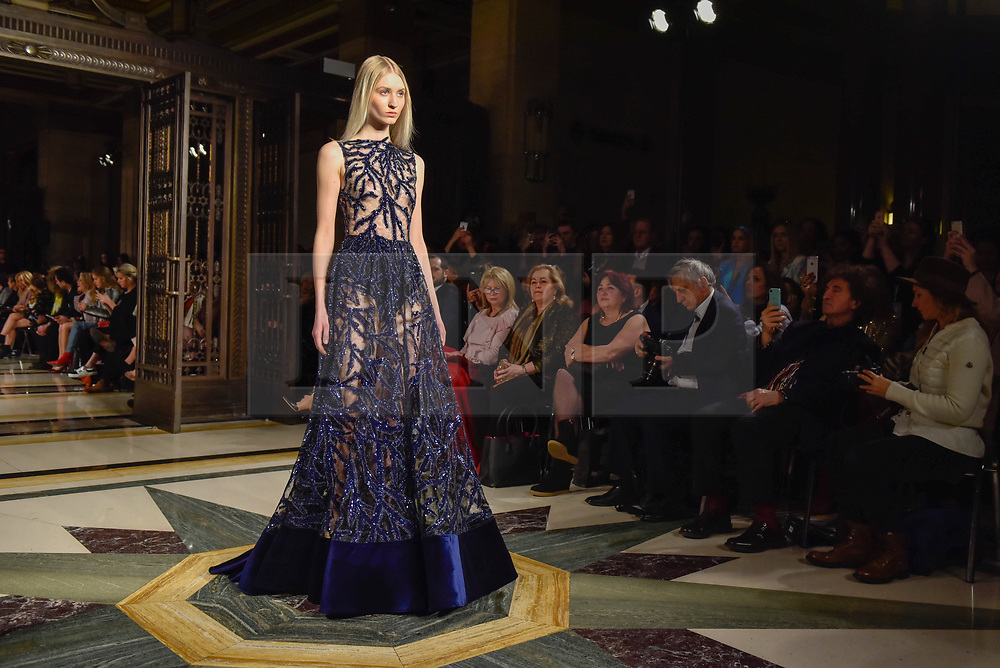 © Licensed to London News Pictures. 17/02/2018. LONDON, UK. A model presents a look by Turkish designer Zeynep Kartel at Fashion Scout AW18, part of London Fashion Week, taking place at Freemasons Hall in Covent Garden.   Photo credit: Stephen Chung/LNP