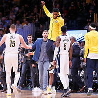 09 April 2018: Denver Nuggets forward Will Barton (5) celebrates with his teammates during the Denver Nuggets 88-82 victory over the Portland Trail Blazers, at the Pepsi Center, Denver, Colorado, USA.